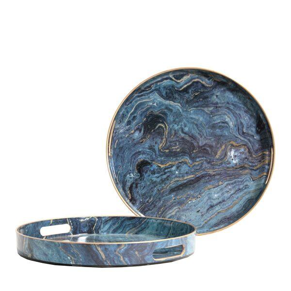 Vassoi Circle Blue Marble - Set 2