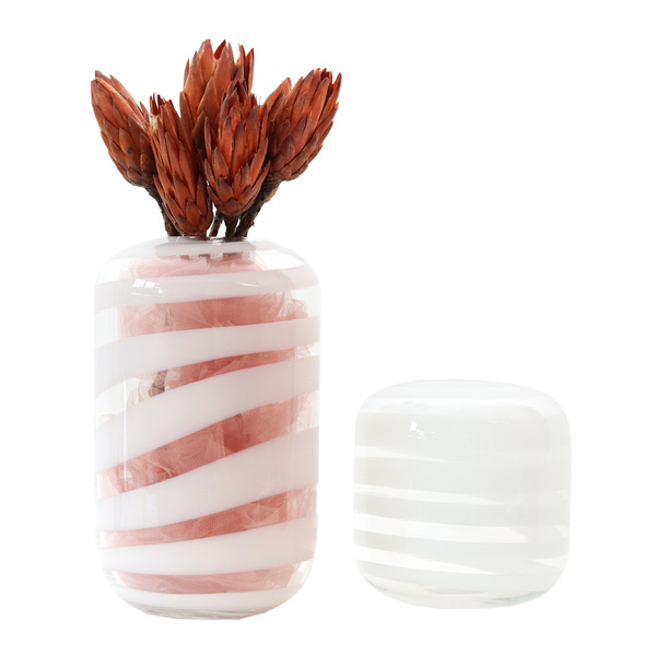 Frozen White Glass Vases - Set 2
