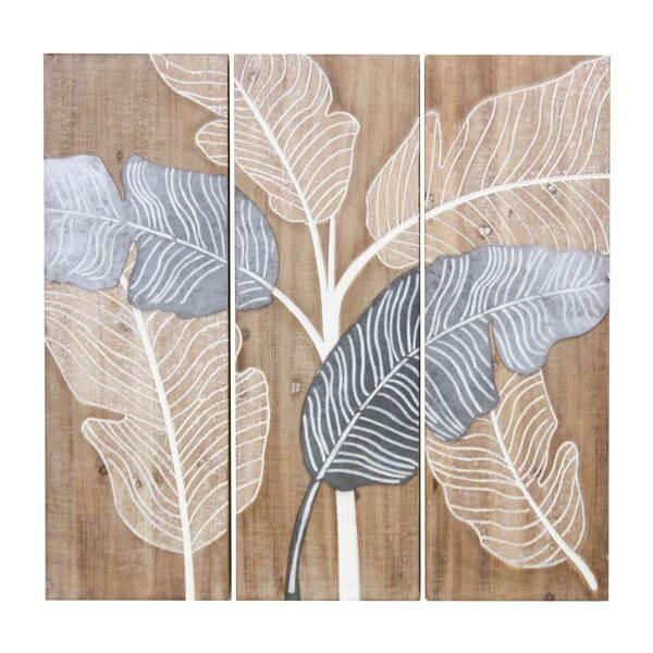 Quadri Legno Beautiful Leaves - Set 3