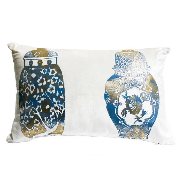 Cuscino Shangri La White And Blue